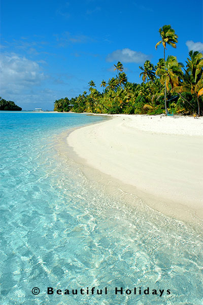 aitutaki beach scene with white sand and coconut trees