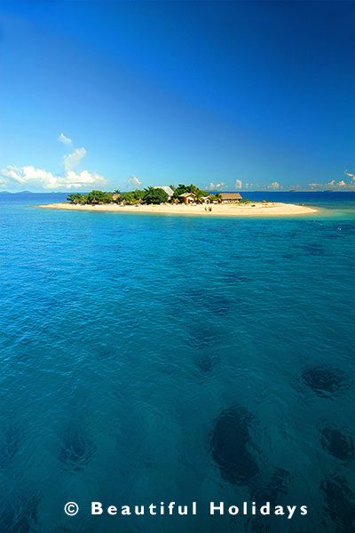 view over an island resort in fiji