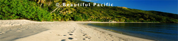 footprints leading to a backpackers beach resort