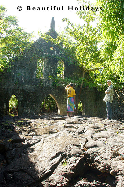 the church at saleaula now covered in hardened  lava flow