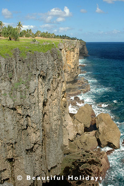 limestone cliffs along south coast tongatapu
