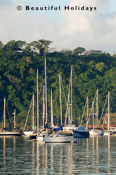 sailing yahts moored in port vila harbour