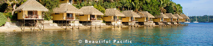 overwater bungalows at a port vila hotel